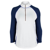 JOFIT Women`s Jacquard Raglan Pullover Tennis Top Blue Depth