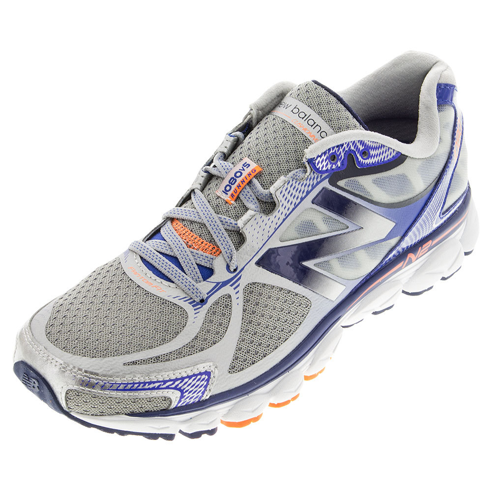 Men's 1080v5 Running Shoes Silver And Optic Blue