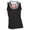 LUCKY IN LOVE Women`s Double-Up Racerback Tennis Tank Black