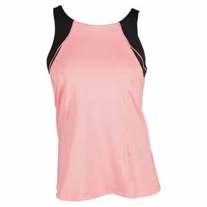 Women`s High Neck Colorblock Tennis Tank Lava