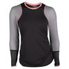 LUCKY IN LOVE Women`s Long Sleeve Tennis Crew Black and Lava