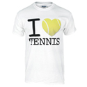 Unisex I Love Tennis Tee White by NO SHOW