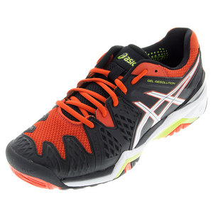 Men`s Gel-Resolution 6 Tennis Shoes Black and Orange
