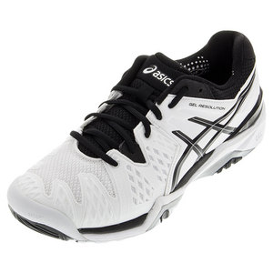 Men`s Gel-Resolution 6 Tennis Shoes White and Black