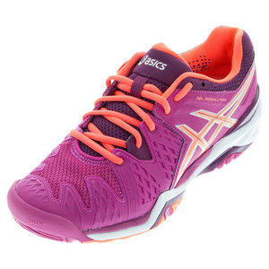 Women`s Gel-Resolution 6 Tennis Shoes Berry and Flash Coral