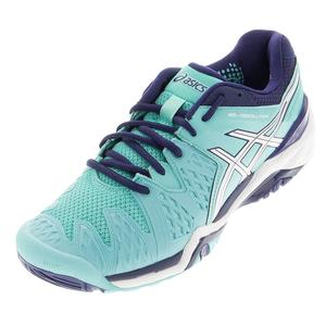 Women`s Gel-Resolution 6 Tennis Shoes Pool Blue and White