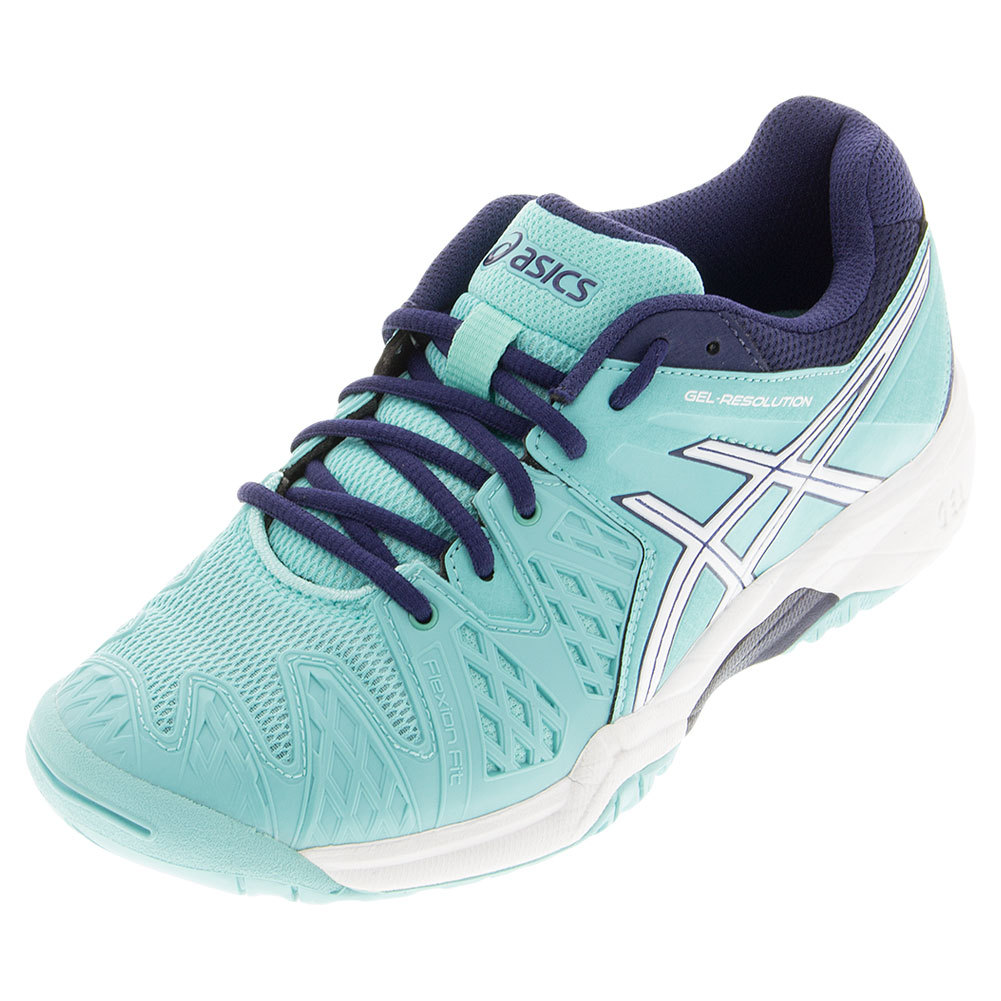 Juniors ` Gel- Resolution 6 Tennis Shoes Pool Blue And White