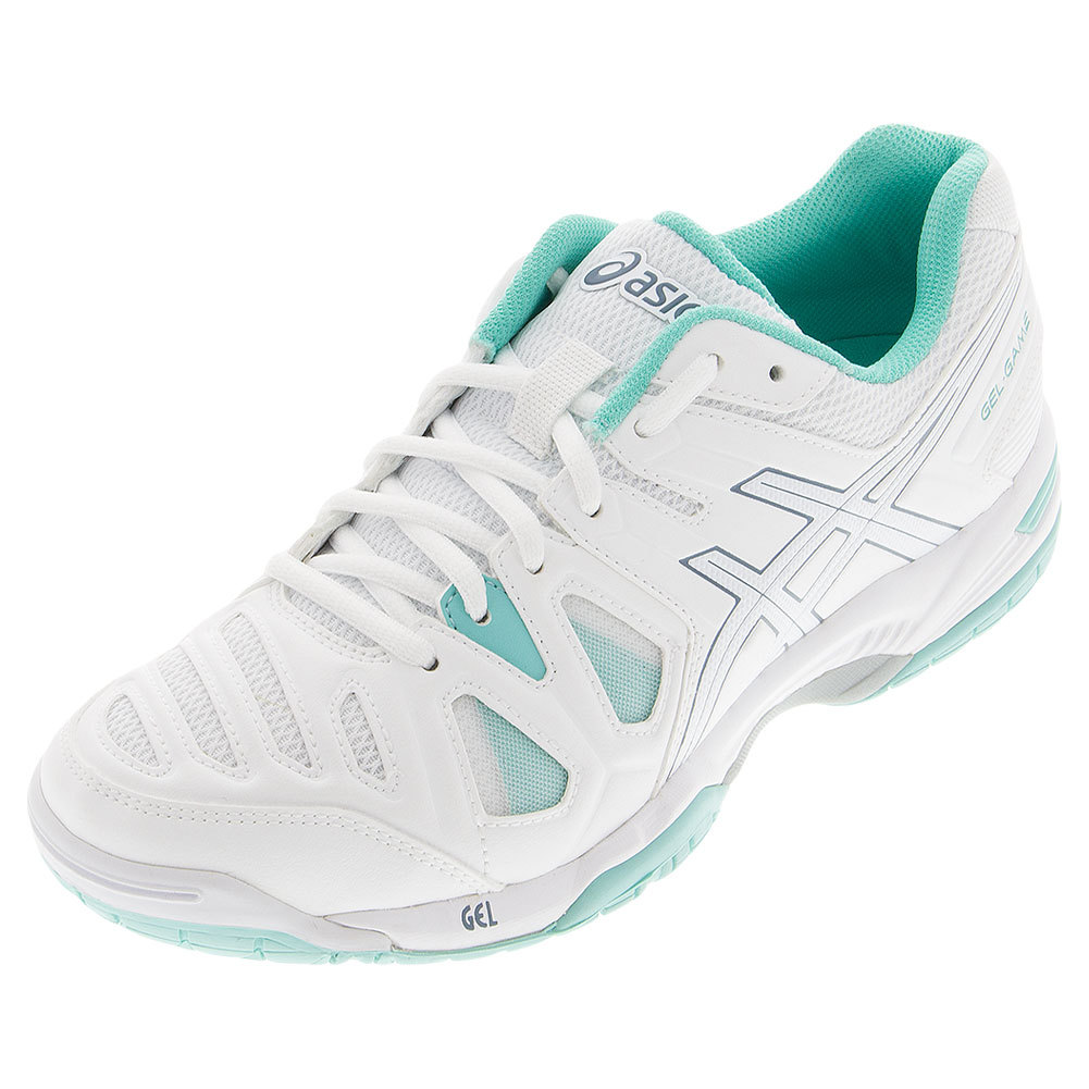 s gel 5 tennis shoes white and pool blue