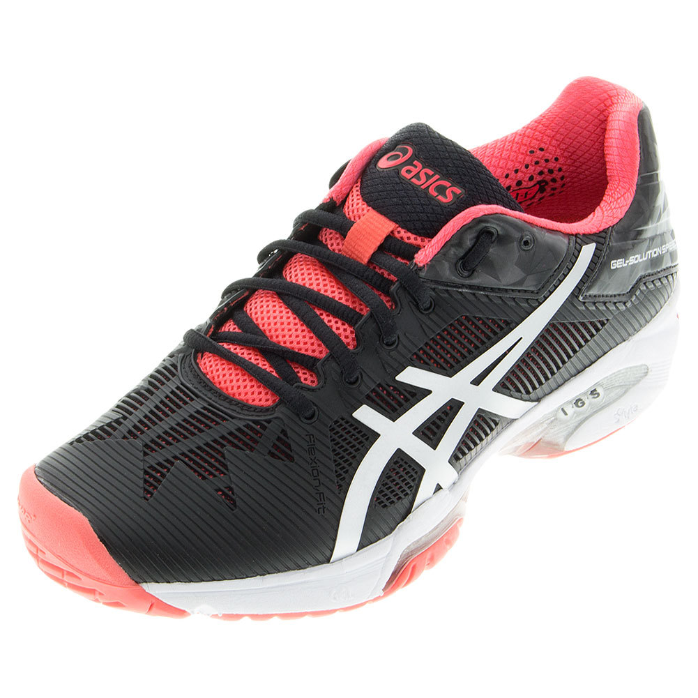 80082809d Asics Women's Gel-Solution Speed 3 Tennis Shoes Black and Diva Pink
