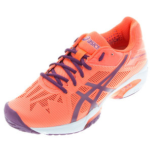 Women`s Gel-Solution Speed 3 Tennis Shoes Flash Coral and Plum