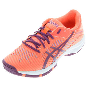 Juniors` Gel-Solution Speed 3 Tennis Shoes Flash Coral and Plum