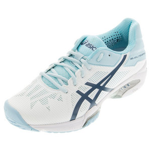 Women`s Gel-Solution Speed 3 Tennis Shoes White and Blue Steel