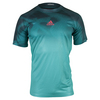 ADIDAS Men`s Adizero Tennis Tee Shock Green and Mineral Blue