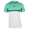 ADIDAS Men`s Barricade Tennis Tee White and Shock Mint