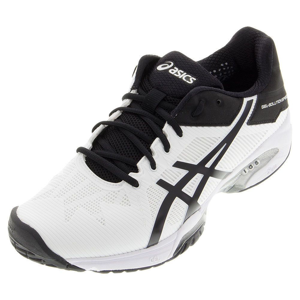 s gel solution speed 3 tennis shoes white and black
