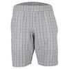 ADIDAS Men`s Club Plaid Bermuda Tennis Short White and Black
