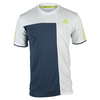 ADIDAS Men`s Club Trend Tennis Tee White and Mineral Blue