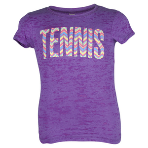 LOVEALL GIRLS TENNIS PRINT TEE PURPLE