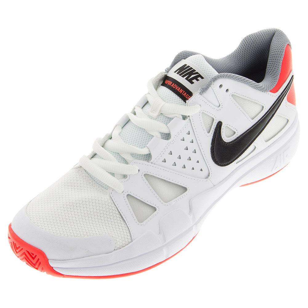 Men's Air Vapor Advantage Tennis Shoes White And Bright Crimson