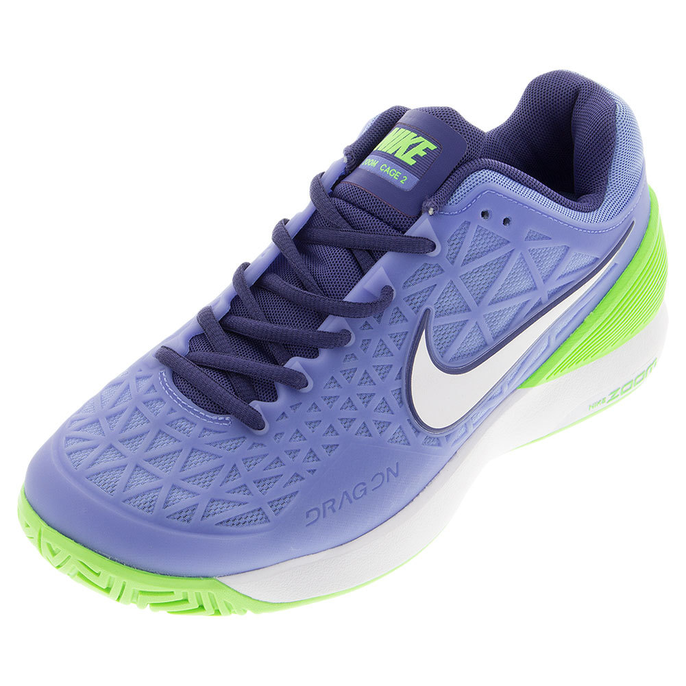 s zoom cage 2 tennis shoes chalk blue and voltage green