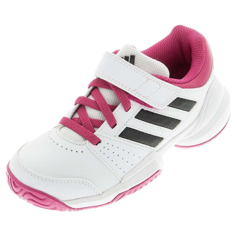 Juniors ` Court El Tennis Shoes White And Eqt Pink