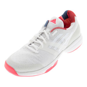 Women`s Adizero Übersonic Tennis Shoes White and Shock Red