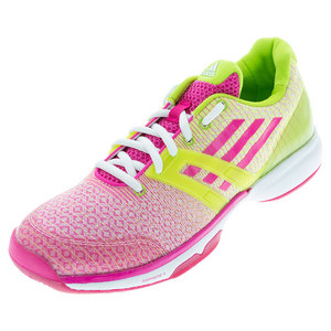 Women`s Adizero Übersonic Tennis Shoes Shock Pink and Semi Solar Slime