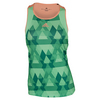ADIDAS Women`s Club Printed Trend Tennis Tank Green Glow and Sun Glow