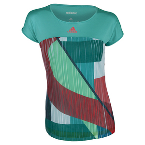Women`s Adizero Tennis Tee Shock Green and Shock Red