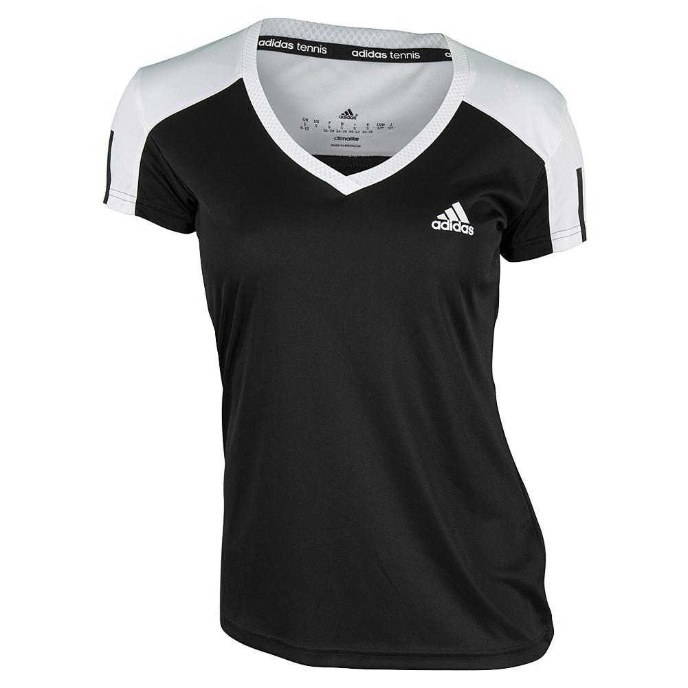 Women's Club Tennis Tee Black And White