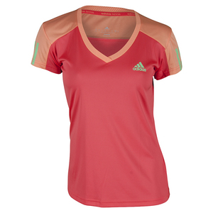 Girls` Club Tennis Tee Shock Red and Sun Glow