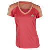 ADIDAS Girls` Club Tennis Tee Shock Red and Sun Glow