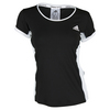 ADIDAS Women`s Court Tennis Tee Black and White
