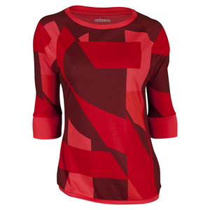 Women`s Adizero Three-Quarter Sleeve Tennis Tee Shock Red and Shock Green