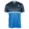 ADIDAS Boys` Court Tennis Tee Mineral Blue and Blue Glow