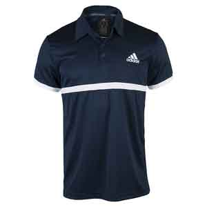 Men`s Court Tennis Polo Collegiate Navy and White