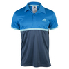 ADIDAS Men`s Court Tennis Polo Shock Blue and Mineral Blue