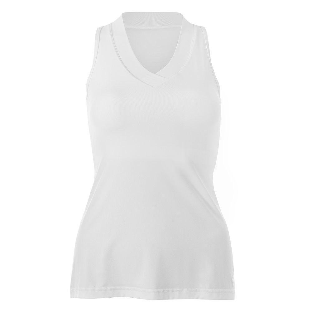 Women`s White Lily Racerback Tennis Tank