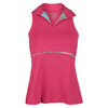 DENISE CRONWALL Women`s Deco Sleeveless Collar Tennis Top Red