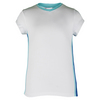 LITTLE MISS TENNIS Girls` Cap Sleeve Tennis Top White and Ocean