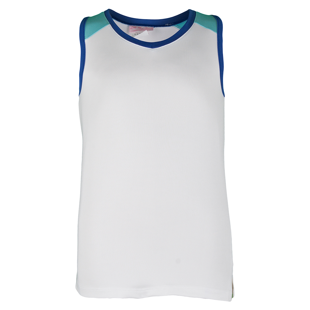 Girls ` Tennis Tank White And Midnight Blue