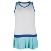 LITTLE MISS TENNIS Girls` Tennis Dress White with Midnight Blue Trim