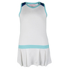 LITTLE MISS TENNIS Girls` Tennis Dress White with Ocean Trim