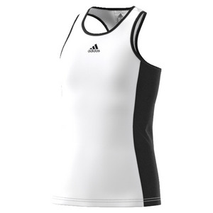 Girls` Court Tennis Tank White and Black