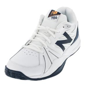 Men`s 786v2 D Width Tennis Shoes White and Blue