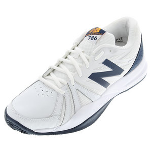 Men`s 786v2 2E Width Tennis Shoes White and Blue