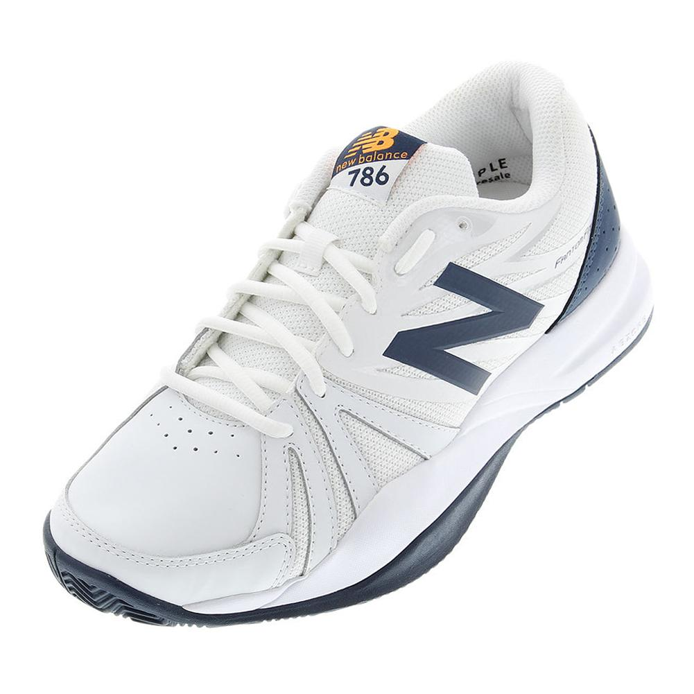 Men's 786v2 4e Width Tennis Shoes White And Blue