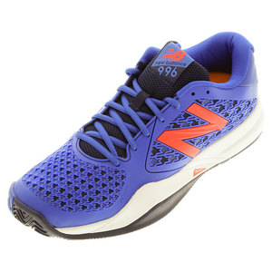 Men`s 996v2 D Width Tennis Shoes Blue and Orange