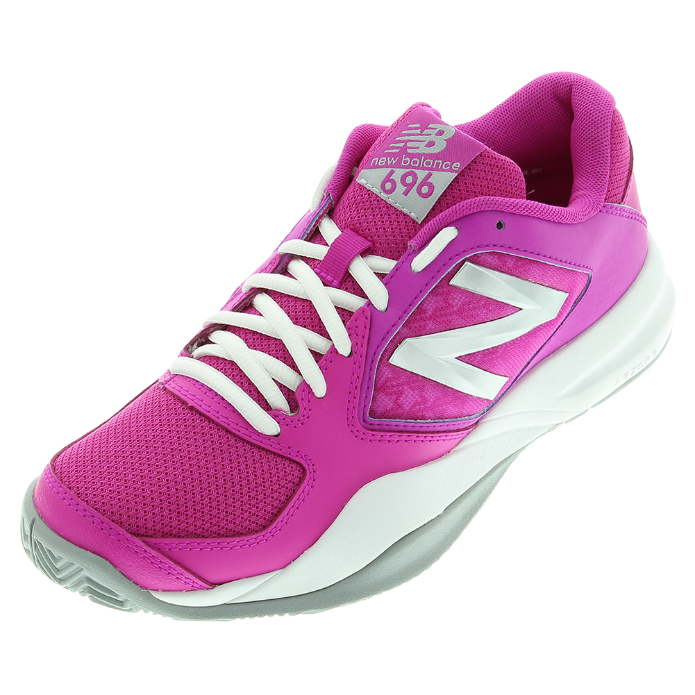 Women's 696v2 B Width Tennis Shoes Pink And Gray