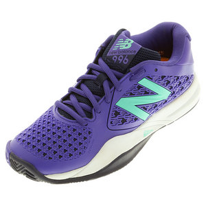 Women`s 996v2 B Width Tennis Shoes Purple and Teal